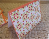 Set of Four/4 Blank Cards, Orange, Green, White, Yellow, Red