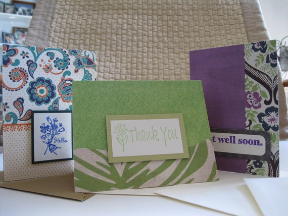 Set of Three/3 Cards, Hand-stamped, Thank You, Get Well Soon