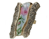 Adjustable ring OOAK - summer flower and stone shapes