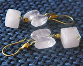 Butterfly earrings with rose quartz stones and 18k gold and 22k gold, made in Italy