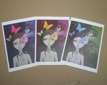 Lush, set of 3 art postcards.