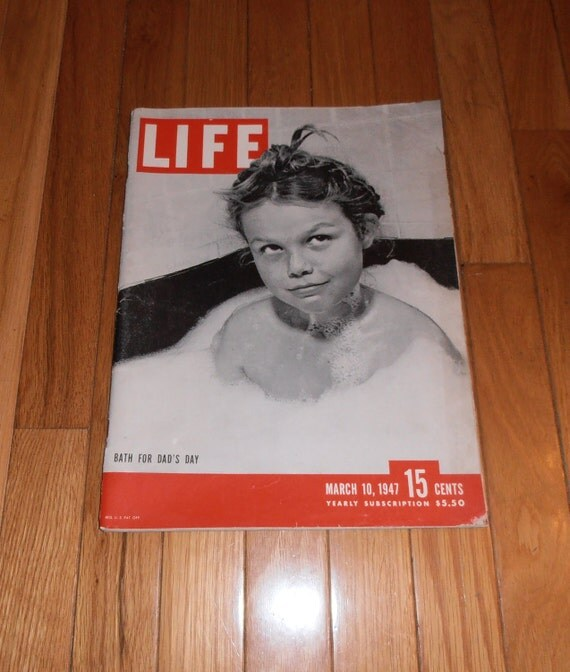 Vintage Life Magazine March 10, 1947 includes a picture of Babe Ruth Showing Hank Greenberg his grip.