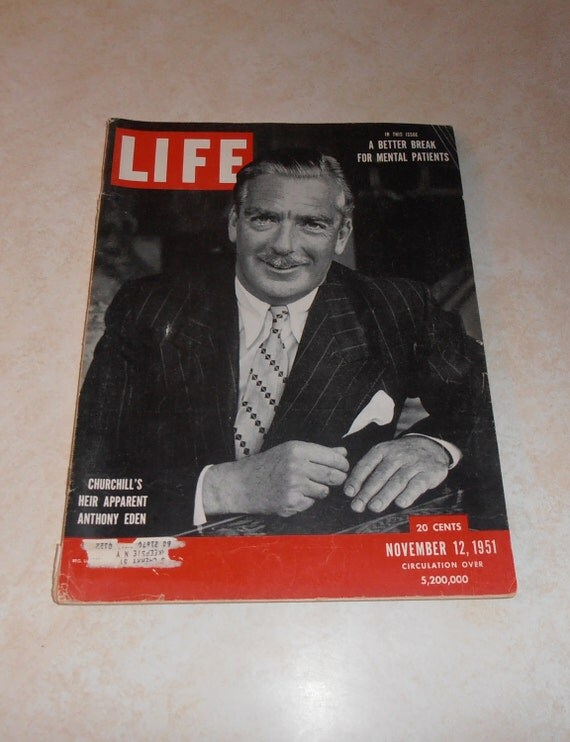 Vintage Magazine - Vintage Life Magazine November 12, 1951 - Churchill - Las Vegas - Middle East