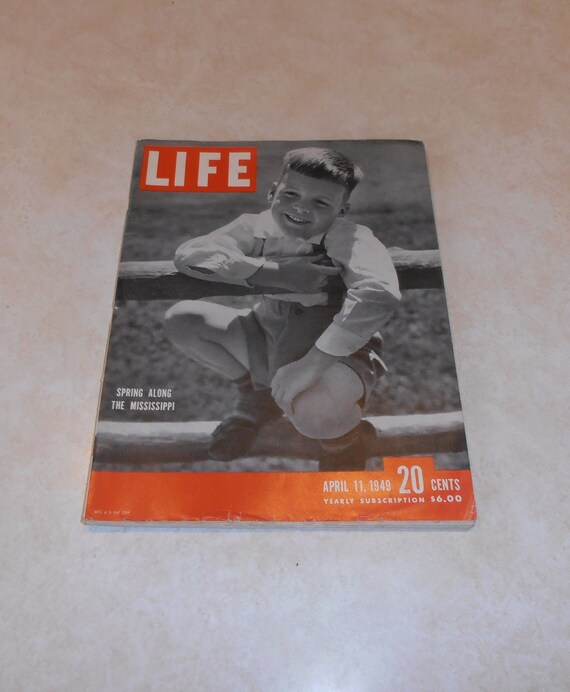 Vintage Magazine -  Life Magazine April 11, 1949 with article Churchill speaks in Boston - Formosa - Chinese