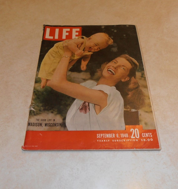 Vintage Life Magazine September 06, 1948 Madison Wisconsin on the cover, Brooklyn Dodgers, Boston Red Sox