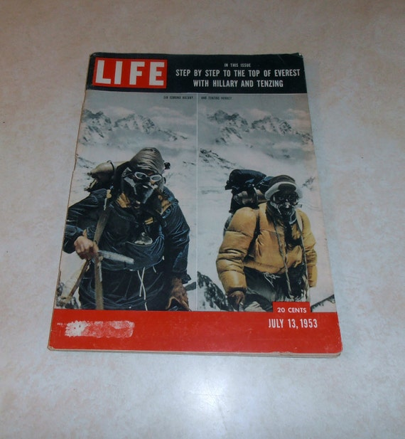 Vintage Life Magazine July 13, 1953.  Featuring Sir Edmund Hillary and Tenzing Norkey on the cover.