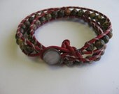 Red Greek Leather -wrapped cord beaded bracelet - double wrap