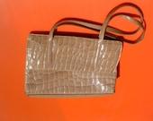 Laura  Biagiotti leather printed like croco  bag leather circa 1980's free shipping