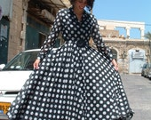 BIG SALE CHANEL dress black and white polka dots made in France circa 1990's
