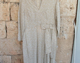 Jacquard Victorian style dress made in France GUY Laroche CIRCA 1970'S