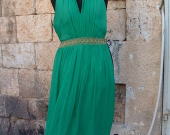 PIERRE CARDIN silk green party dress size small circa 1980's made in France