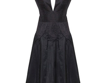 free shipping BIG sale Oscar de la Renta black taffeta with lace dress circa 1960's made  in France free shipping