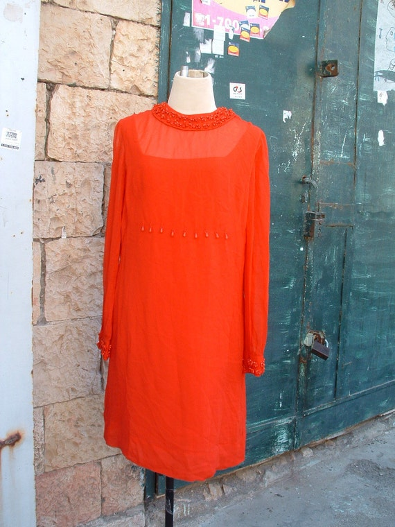 RESERVED PIERRE CARDIN elegant night red embroidered dress   circa 1973's