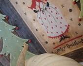 Primitive cross stitch pattern: Christmas Pumpkin Queen