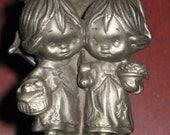 Hallmark Pewter Figurine - 1977 Little Gallery Girls with Umbrella