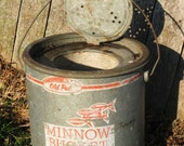 Vintage Minnow Bucket, fishing bait bucket, Old Pal, galvanized