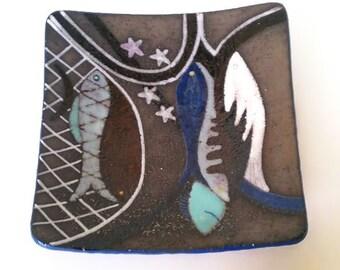 Vintage art pottery, fish plate, mid century modern, organic texture, signed, circa 1960