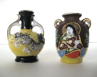Vintage Miniature Vases - Japanese Satsuma Moriage Painted Porcelain