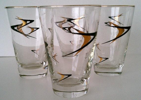 Atomic Highball Glasses set of 4 mid century Madmen Era circa 1950