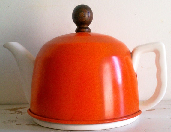 Vintage Pottery Teapot with Orange Aluminum Insulated Cover Mid Century circa 1960