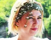 green patterned- Headscarf-hand embroidered yemeni-Hair Bandana