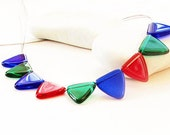 SALE-cobalt blu, red,emerald geometric necklace-cinco de mayo flag-summer fashion necklace
