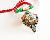 silver necklace- turkish jewelry-Afghan silver turquoise and coral necklace-red coral necklace-chunky necklaces