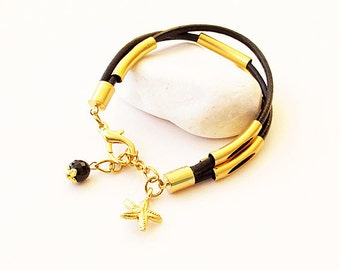 black leather bracelet-bracelets summer travel-holiday accessories, bracelets
