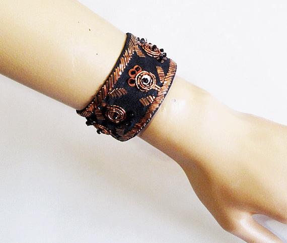 Ethnic Tribal bracelet Vintage Style Hand Embroidered-TURKISH embroidered authentic vintage bracelet- OOAK
