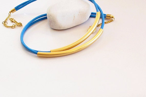 Blue Leather Rope Necklace,  Leather rope jewelry, statement necklace, Gold, blue, Summer Necklace