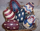 Primitive  Raggedy Ann Easter Egg Ornies Handpainted Bowl Fillers  Americana Easter Decor