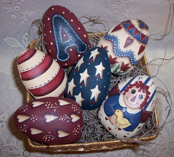 Primitive  Raggedy Ann Easter Egg Ornies Handpainted Bowl Fillers  Americana Easter Decor