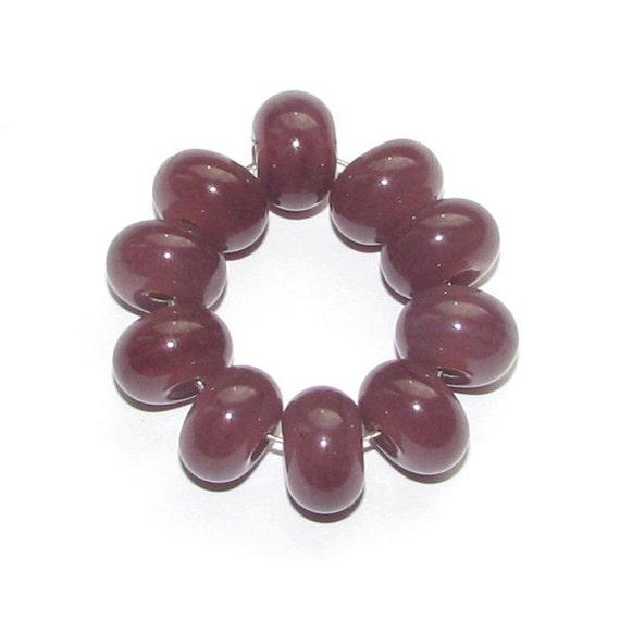 Handmade lampwork spacer glass beads - plum / purple