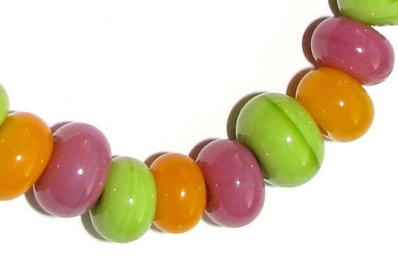 Easter handmade lampwork glass beads set - pink, yellow, green