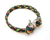 Nautical Sailing Bracelet  Stainless steel  Shackle -Rope Bracelet- Paracord Bracelet- Rainbow