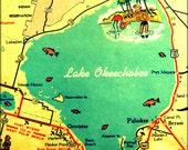 Retro Florida Map Print, LAKE OKEECHOBEE Map, Vintage FLORIDA Art, Wall Art, Old Florida Art,  Florida Lake House Decor, Hostess Gift