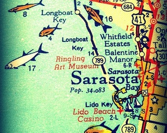 Sarasota Siesta Key Florida 11x14 vintage map photograph beach lover gift orange aqua fish Bradenton Lido Key wall decor picture