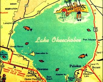 LAKE OKEECHOBEE map art, lake house decor, lake house art, old Florida, old Florida art, 11x14 16x20 photograph, aqua decor, Florida lake