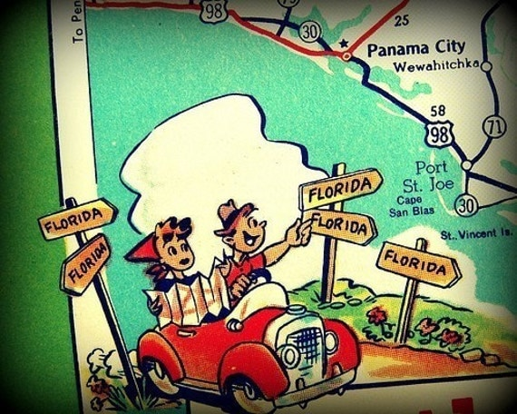 Unique Art for Florida Home Panama City Beach Map Art Mid