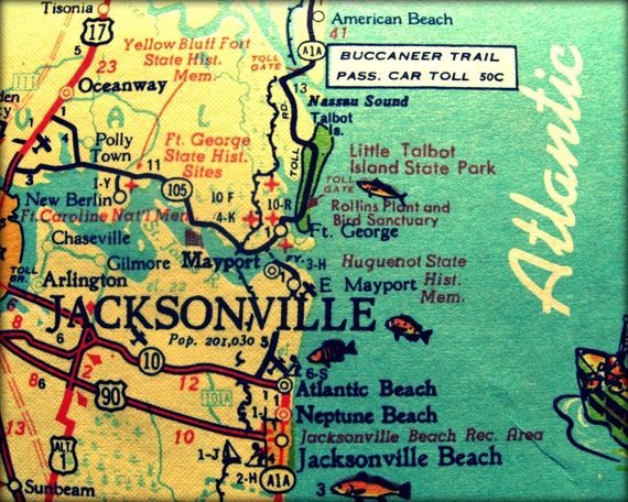vintage map JACKSONVILLE retro Florida photograph print 8x10 Neptune Atlantic Beach 1960s aqua  yellow wall art coastal decor picture
