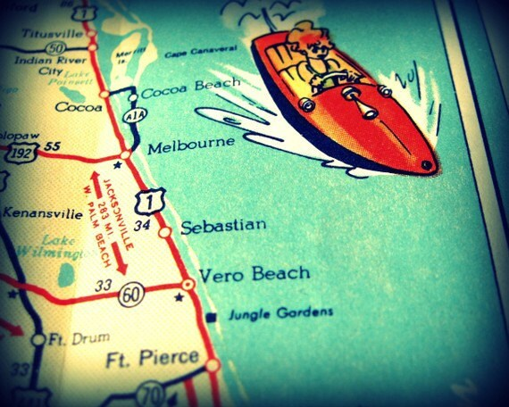 Man Cave Vero Beach : Vintage map cocoa beach florida by