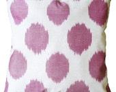 Pink Polka Dot Hand Woven Uzbek Ikat Pillow Cover (16'' x 16'')