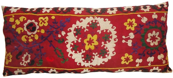Extra Large Lumbar Vintage Suzani Hand Embroidered Pillow Cover / Floor Cushion ( Red, Yellow, Green, White, Black, Green) 18'' x 40''
