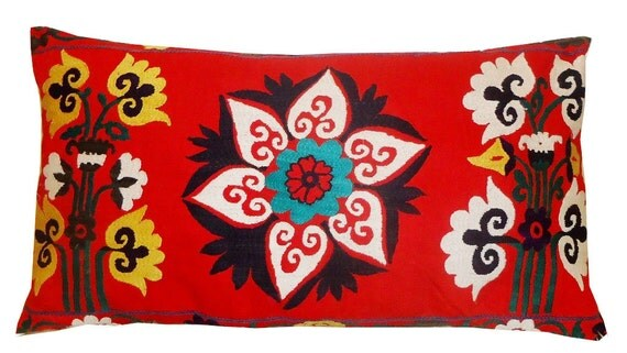 Large Lumbar Vintage Suzani Hand Embroidered Pillow Cover ( Red, Yellow, Teal, White) 18'' x 32''