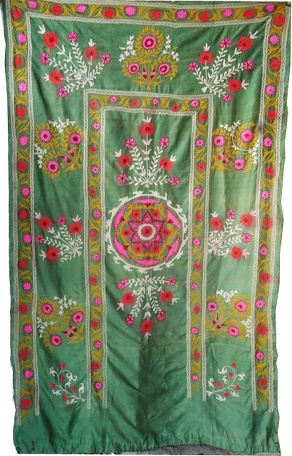 Antique Mint Green Hand Embroidered Pure Silk Suzani (Wall Hanging, Curtain, Bed Cover, Sofa Throw)