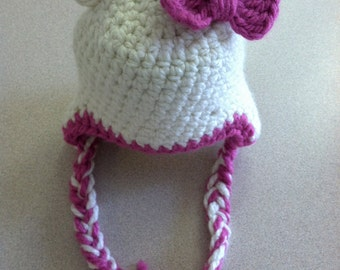 Girls bear hat with bow
