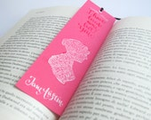 Jane Austen pink  bookmark, with handwritten calligraphy - Captain Wentworth's letter