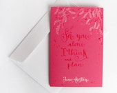 Jane Austen hand painted pink card - Captain Wentworth letter