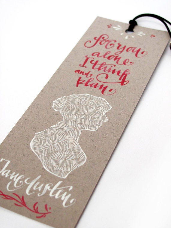Jane Austen light brown bookmark, with handwritten calligraphy - Captain Wentworth's letter