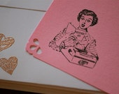 Retro Pink Office Note Cards & Embossed Envelopes (Set of 6)